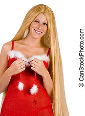 Beautiful Christmas faerie with very long hair smiling -...