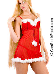 Pretty looking christmas faerie with very long blond hair -...