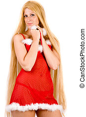 Shy looking Christmas faerie with very long hair - Studio...