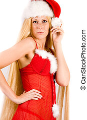 Beautiful Christmas faerie with very long hair posing -...