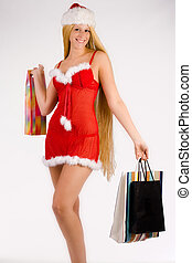 Beautiful Christmas faerie with very long hair shopping -...