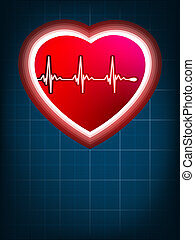 Abstract heart beats cardiogram on blue. EPS 8
