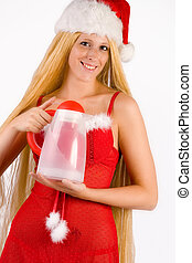 Beautiful Christmas faerie with very long hair and thermos -...