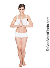 Young Woman Practicing Yoga - Pretty Young Woman Practicing...