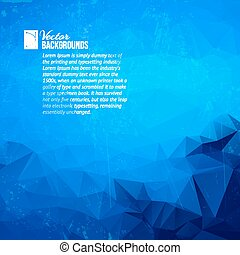 Geometric triangle shapes - Abstract blue background of...