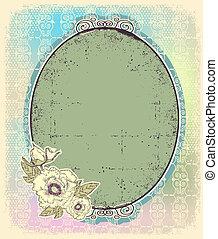 Vintage romantic frame for design.Retro color illustration