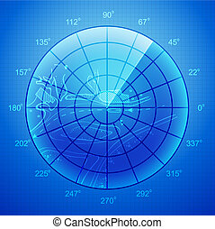 Blue radar screen - Blue radar screen over grid lines and...