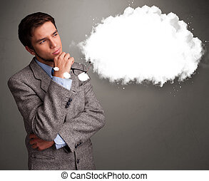Good-looking young man thinking about cloud speech or...