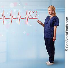 jovem, enfermeira, Escutar, abstratos, pulso, vermelho,...
