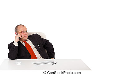 businessman sitting at desk and making phone call with copy space, isolated on white