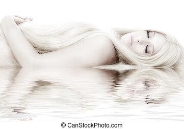 Beautifull, blonde, Het liggen, zoals, cinderella
