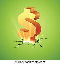 Rising Dollar - illustration of Dollar coming out of cracked...