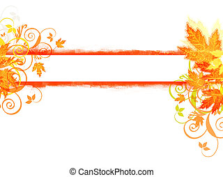 Autumn banner with maple leaes and swirls