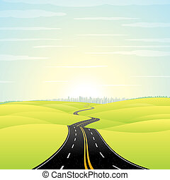 Illustration of Landscape with Highway Road