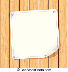 Blank Paper Poster attached on Wooden Wall