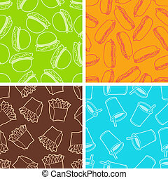 Fast food seamless patterns in retro style