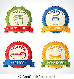 Set of badges with burger, hot dog, french-fry and drink