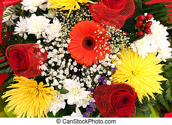 assorted flowers in bouquet closeup