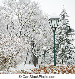 Street lamp and forest park in heavy snow