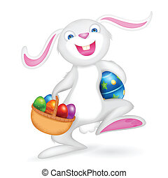 Basic rgb - illustration of Easter bunny holding basket with...