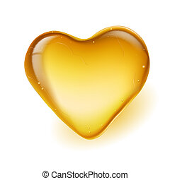 Realistic amber in a heart shape. Illustration on white...