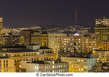 San Francisco Nob Hill and Twin Peaks at Night - San...