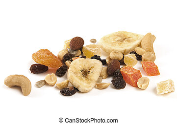 Dried Fruit and Nuts - Focus on dried fruit and nuts on...