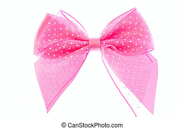 pink ribbon bow - pink ribbon bow isolated on white...