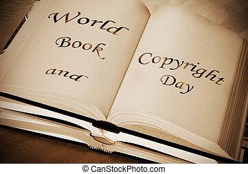 mondo, libro, copyright, giorno