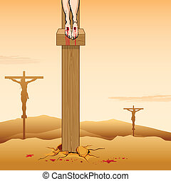 Jesus Christ Crucifixion on Good Friday - illustration of...