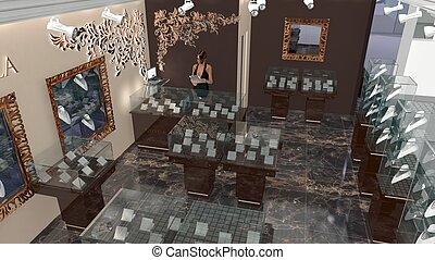 Office equipment jewelery boutique - 3D model of office...