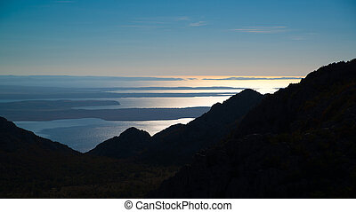View from Velebit mountains in Croatia - Sunset view from...