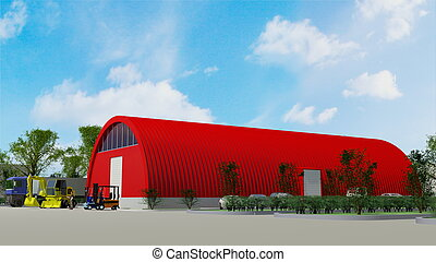 Big red hangar - Big red aluminum garage for storage (3d...