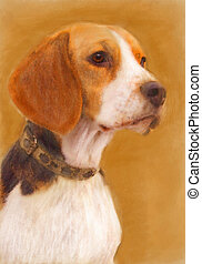 oil painting portrait of beagle in autumn