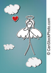 Angel heart - Hand-drawn stick woman, angel with red heart