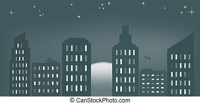 City sunset cyan - Vector illustration of cityscape at dawn