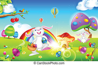 Happy Easter Bunny - illustration of happy bunny walking...