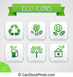Collection of apps icons with eco elements. Set 2. -...