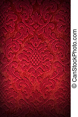Red fabric - Old red brocade fabric pattern background