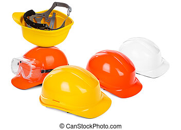 group of hard hats, small natural shadow under objects