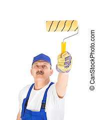 house painter is painting invisible wall, isolated on white...