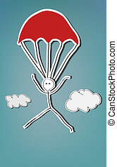 Skydiver - Handpainted stick man skydiving with red...