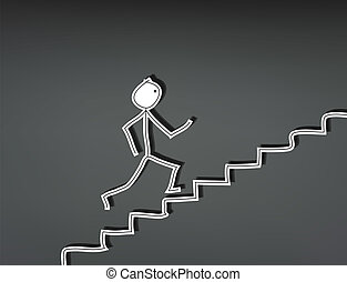 Stick man stairs up - Hand-drawn stick man running up stairs
