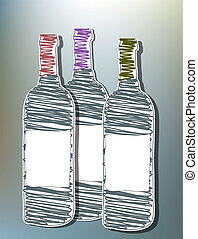 Wine bottles - Hand drawn wine bottles with blank label