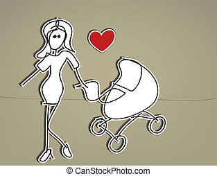 Woman stroller - Hand drawn stick woman with baby carriage