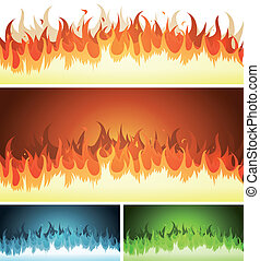 Blaze, Burning Fire And Flames Set - Illustration of a set...
