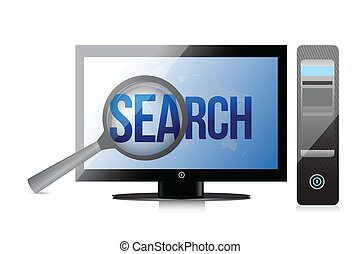 magnifier and search on a computer screen.