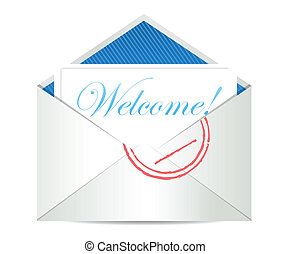 Welcome concept with open blank airmail envelope