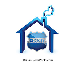 Home insurance protection, a shield and a house