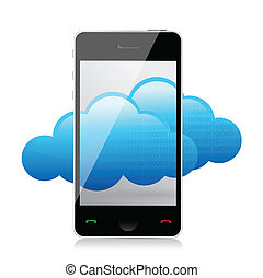 Cloud computing concept. Mobile phone with cloud